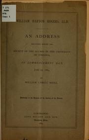 Cover of: William Barton Rogers, LL.D. | William Cabell Rives
