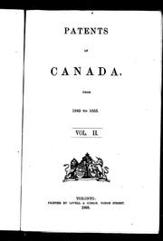 Patents of Canada from 1849 to 1855