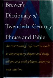 Cover of: Brewer's dictionary of 20th-century phrase and fable