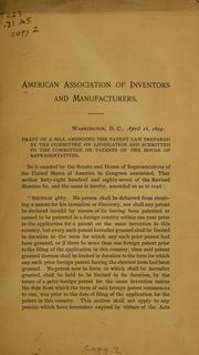 Cover of: Draft of a bill amending the patent law | American association of inventors and manufactures. [from old catalog]