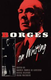 Cover of: Borges on writing