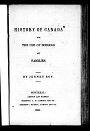 Cover of: History of Canada | J. Roy
