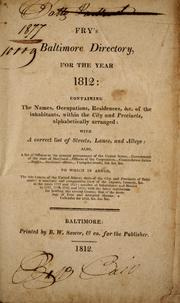Cover of: Fry's Baltimore directory, for the year 1812 by William Fry