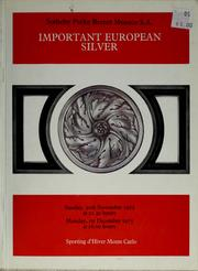 Cover of: Important European silver | Sotheby