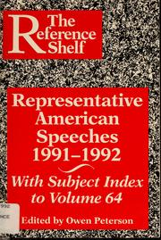 Cover of: Representative American speeches, 1991-1992 | Owen Peterson