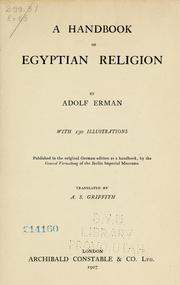 Cover of: A handbook of Egyptian religion | Adolf Erman