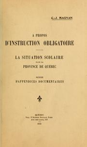 A propos d'instruction obligatoire by C.-J Magnan