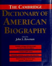 Cover of: The Cambridge dictionary of American biography | John Stewart Bowman