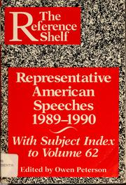 Cover of: Representative American speeches, 1989-1990 | Owen Peterson