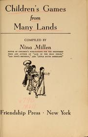 Children's games from many lands by Nina Millen