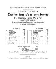 Mendelssohns twenty-four four-part songs for singing in the open air