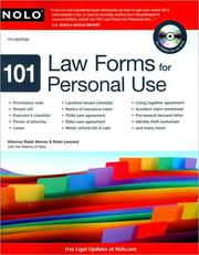 Cover of: 101 law forms for personal use | Ralph E. Warner