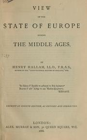 Cover of: View of the state of Europe during the Middle Ages