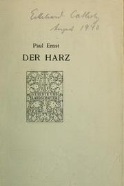 Der Harz by Ernst, Paul