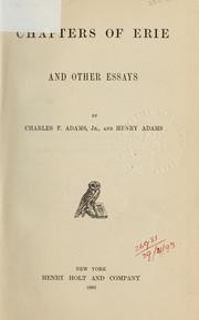 Cover of: Chapters of Erie and other essays