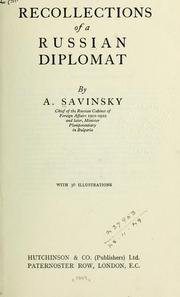 Cover of: Recollections of a Russian diplomat | Alexander Aleksandrovich Savinsky