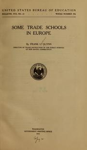Cover of: Some trade schools in Europe