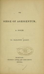 Cover of: The siege of Agrigentum