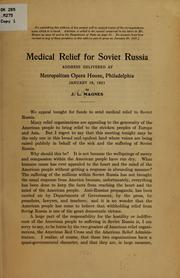Cover of: Medical relief for Soviet Russia