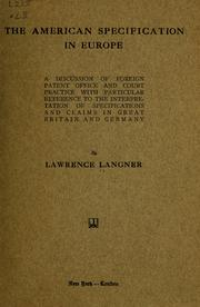 Cover of: The American specification in Europe