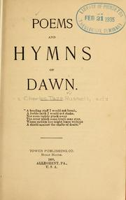 Cover of: Poems and hymns of dawn