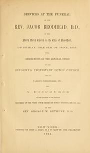 Cover of: A memorial of the Rev. Jacob Brodhead ... 1855 | George W. Bethune