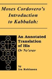 Cover of: Moses Cordovero's introduction to Kabbalah