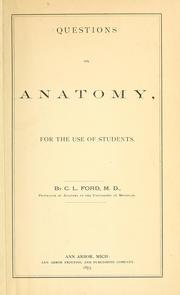 Cover of: Questions on anatomy | Corydon L. Ford