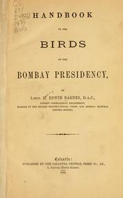Handbook to the birds of the Bombay presidency by H. Edwin Barnes
