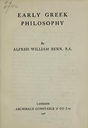 Cover of: Early Greek philosophy