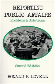 Cover of: Reporting public affairs | Ronald P. Lovell