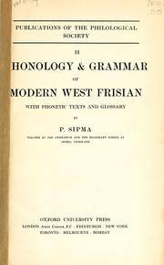 Cover of: Phonology and grammar of modern west Frisian by Pieter Sipma