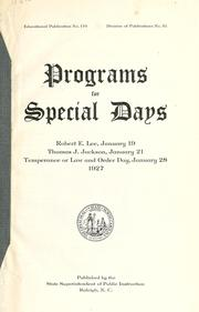 Cover of: Programs for special days | North Carolina. Dept. of Public Instruction