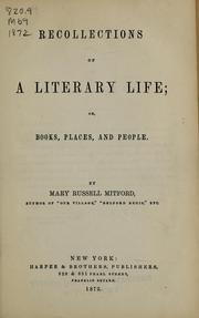Cover of: Recollections of a literary life, or, Books, places, and people