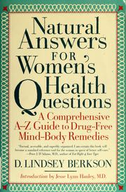 Cover of: Natural answers for women's health questions