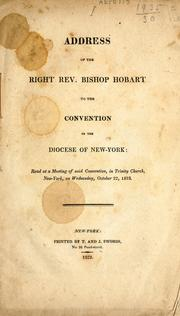 Cover of: Address of the Right Rev. Bishop Hobart to the convention of the diocese of New-York