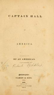 Cover of: Captain Hall in America | Richard] Biddle