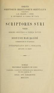 Cover of: Dionysii bar Ṣalībī Commentarii in Evangelia