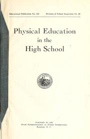 Cover of: Physical education in the high school