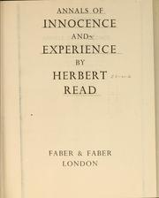 Cover of: Annals of innocence and experience
