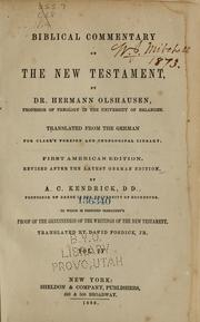 Cover of: Biblical commentary on the New Testament | Hermann Olsheusen