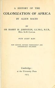 Cover of: A history of the colonization of Africa by alien races