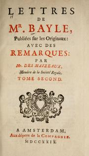 Cover of: Lettres de Mr. Bayle
