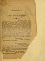 Cover of: Correspondence touching patent office matters | Thomas G. Clinton