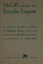 Cover of: McCall's book of everyday etiquette | Margaret (Van Doren) Bevans