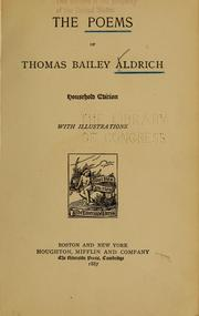 Cover of: The poems of Thomas Bailey Aldrich