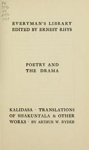 Cover of: Kalidasa translations of Sakuntala | Kālidāsa