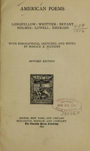 Cover of: American poems: Longfellow: Whittier: Bryant: Holmes: Lowell: Emerson