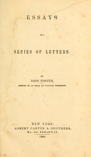 Cover of: Essays by a series of letters