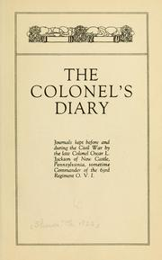 Cover of: The colonel's diary